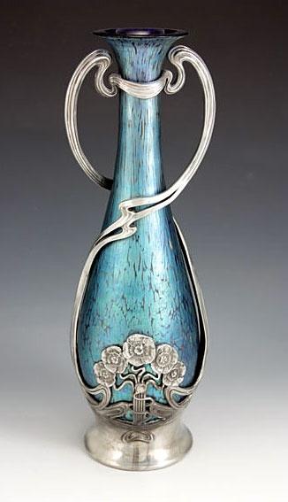 3. Loetz art Nouveau vase w: Juventa pewter mount
