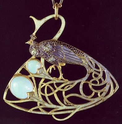 lalique peacock pendant