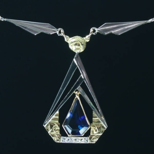 French Art Deco necklace with sapphire and diamonds, c1930