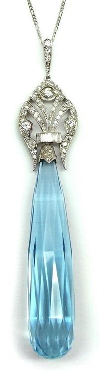 Early Art Deco briolette cut aquamarine and diamond pendant, French 1920